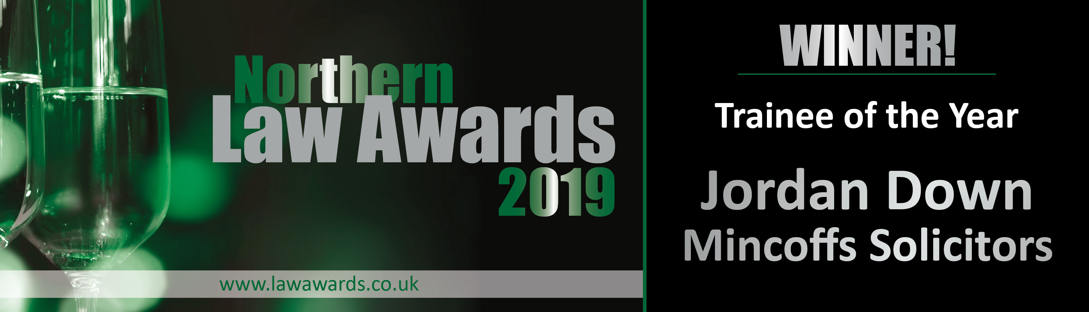 Jordan Down - Northern Law Awards Trainee of the Year Winner 2019 Logo, Mincoffs Solicitors
