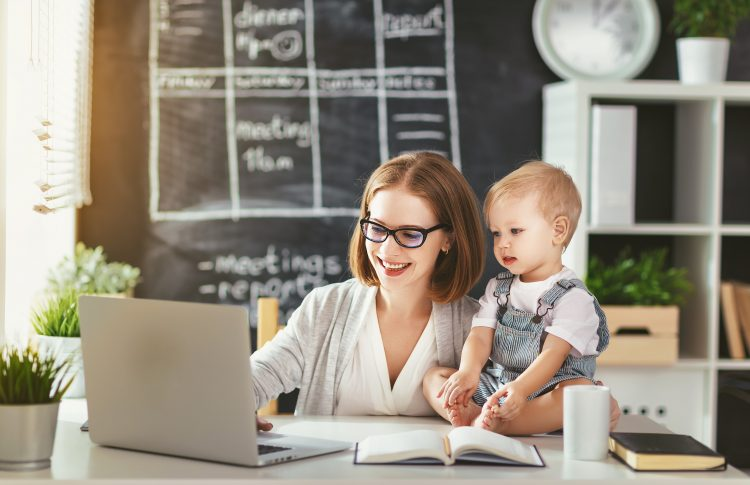 TUC Flexible Work - Mother working from home