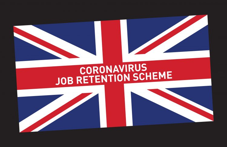 Union Jack flag with words Coronavirus job retention scheme written on