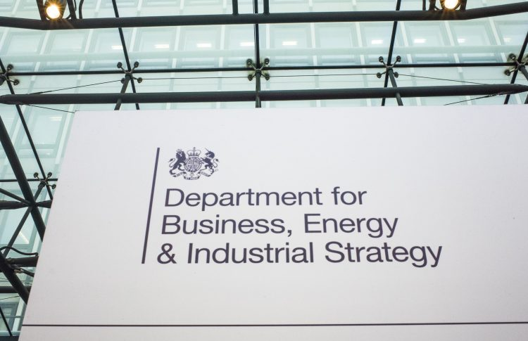 sign for department of business, energy and industry strategy