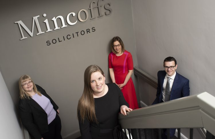Key promotions at Mincoffs Solicitors. L-R Denise Arnott, Ashleigh Warne, Victoria Richer and Chris Hughes.
