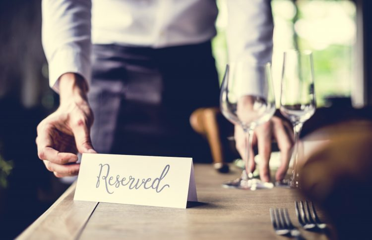 Reserved sign on a restaurant table